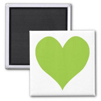 Apple Green Cute Heart Shape 2 Inch Square Magnet
