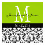 Apple Green Damask Monogram Wedding Invitation