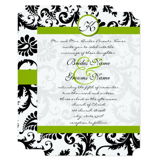 Apple Green Wedding Invitations: Monogram Wedding Invitations