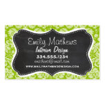 Apple Green Damask Pattern; Chalkboard Double-Sided Standard Business Cards (Pack Of 100)