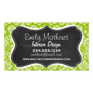 Apple Green Damask Pattern Chalkboard Business Card
