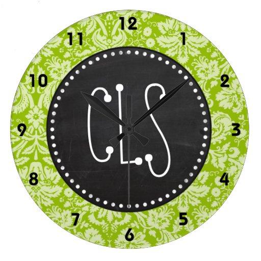 Apple Green Damask Pattern; Chalkboard Clocks