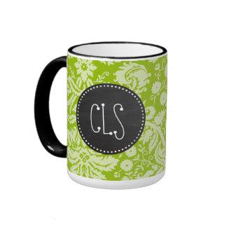 Apple Green Damask Pattern; Chalkboard Ringer Coffee Mug