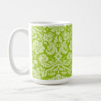 Apple Green Damask Pattern Coffee Mug