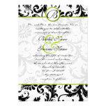 Apple Green Damask Swirls Wedding Invitation