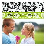 Apple Green Damask Swirls Wedding Save the Date Announcement