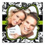Apple Green Damask Swirls Wedding Save the Date 5.25x5.25 Square Paper Invitation Card