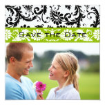Apple Green Damask Swirls Wedding Save the Date Personalized Invites