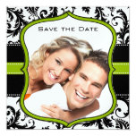 Apple Green Damask Swirls Wedding Save the Date Custom Invitation
