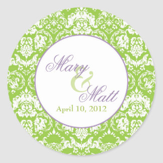 Apple Green Damask Thank You Round Stickers