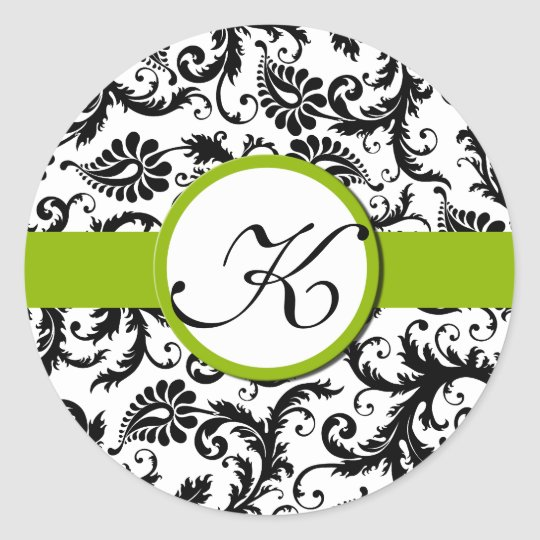 Apple Green Damask Vintage Floral Wedding Stickers