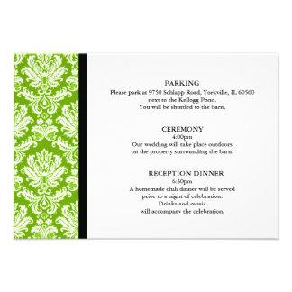 Apple Green Damask Wedding Enclosure Card Custom Announcement