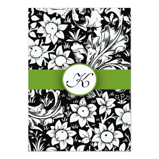 Apple Green Wedding Invitations: Apple Green Elegant Damask Monogram Wedding Invite