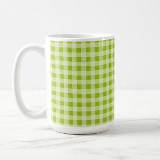 Apple Green Gingham; Checkered Classic White Coffee Mug