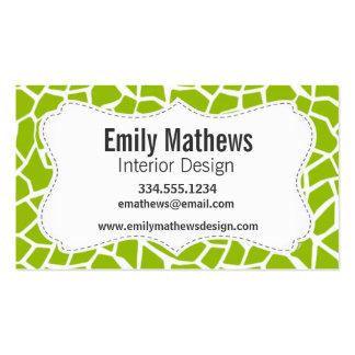 Apple Green Giraffe Animal Print Business Card