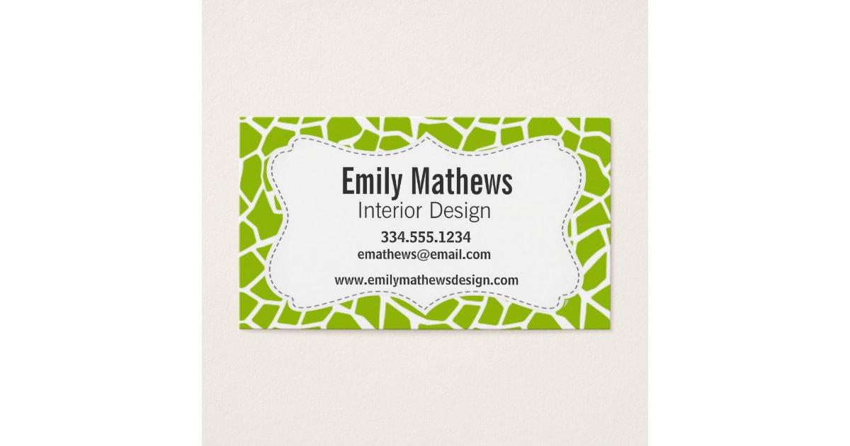 Apple Green Giraffe Animal Print Business Card   Zazzle.com