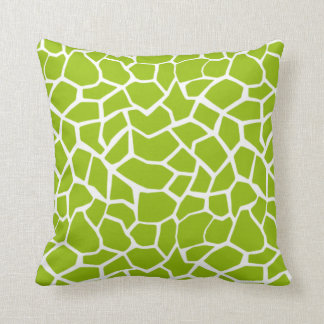 Apple Green Giraffe Animal Print Throw Pillow