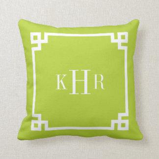 Apple Green Greek Key Border Custom Monogram Throw Pillow