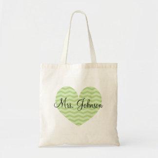 Apple green heart chevron tote bag for teacher