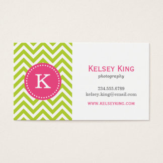 Apple Green & Hot Pink Chevron Custom Monogram Business Card