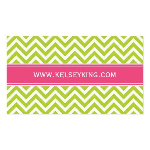 Apple Green & Hot Pink Chevron Custom Monogram Business Cards (back side)