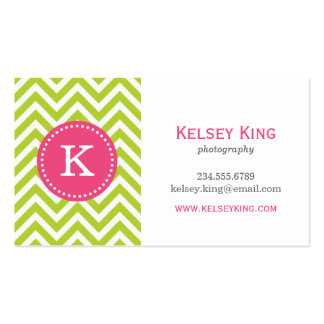 Apple Green Hot Pink Chevron Custom Monogram Business Cards