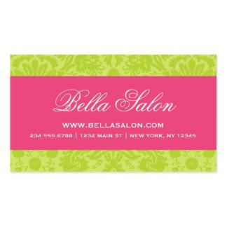 Apple Green & Hot Pink Elegant Vintage Damask Business Card Template