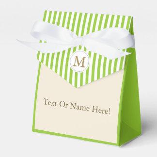 Apple Green Ivory Cream White Stripes Custom Name Favor Box