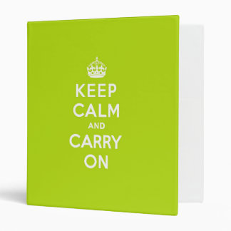 Apple Green Keep Calm and Carry On Binder