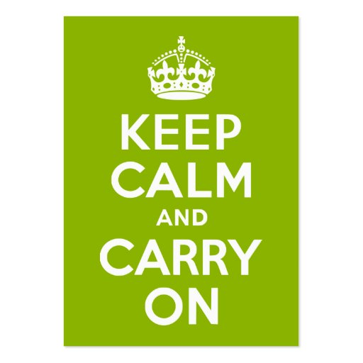Apple Green Keep Calm and Carry On Large Business Cards (Pack Of 100)