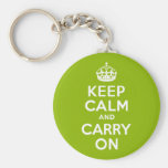 Apple Green Keep Calm and Carry On Keychains