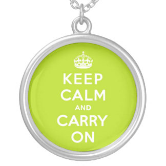 Apple Green Keep Calm and Carry On Round Pendant Necklace