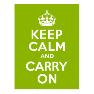Apple Green Keep Calm and Carry On Postcard