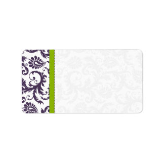 Apple Green & Lapis Purple Damask Dots Label