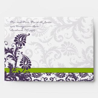 Apple Green Lapis Purple Damask Wedding Envelopes