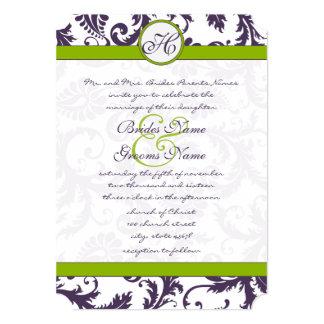 Apple Green Lapis Purple Damask Wedding Invitation