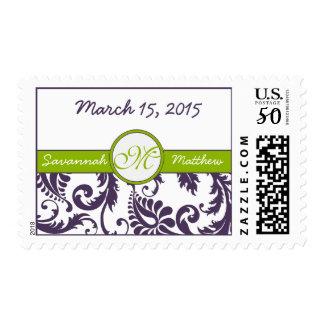 Apple Green & Lapis Purple Damask Wedding Stamp