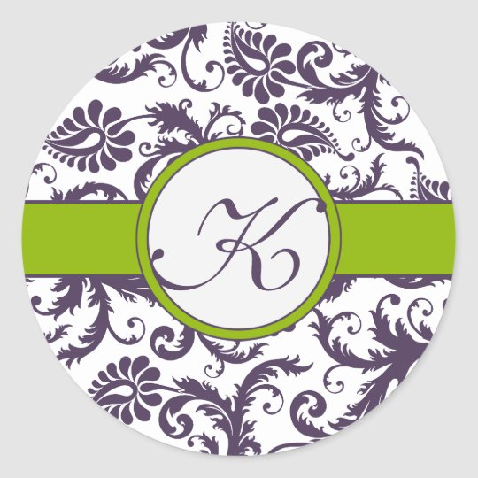 Apple Green & Lapis Purple Damask Wedding Stickers