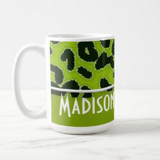Apple Green Leopard Animal Print; Personalized Coffee Mug