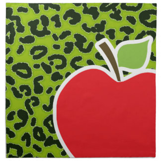 Apple Green Leopard Animal Print; Teacher Napkin