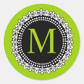 Apple Green Monogram M Fleur de lis Wedding Label Classic Round Sticker