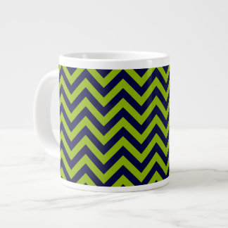 Apple Green, Navy Blu Large Chevron ZigZag Pattern Large Coffee Mug