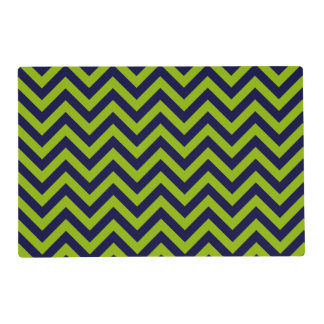 Apple Green, Navy Blu Large Chevron ZigZag Pattern Placemat