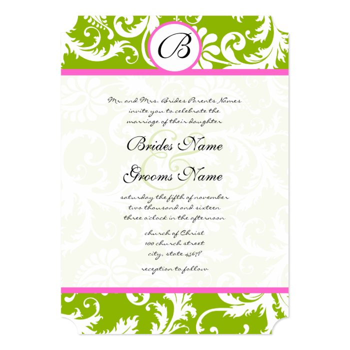 Apple Green Wedding Invitations: Apple Green & Pink Damask Swirl Wedding Invitation