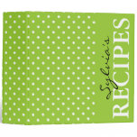 Apple green polka dot pattern recipe binder book