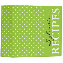 Apple green polka dot pattern recipe binder book