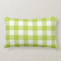Apple Green Preppy Buffalo Check Plaid Lumbar Pillow