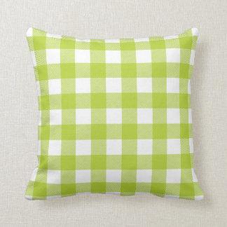 Apple Green Preppy Buffalo Check Plaid Pillow