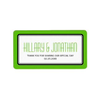 Apple green rectangular frame wedding favor labels