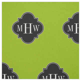 apple green solid color black quatrefoil monogram fabric - Apple Green Color